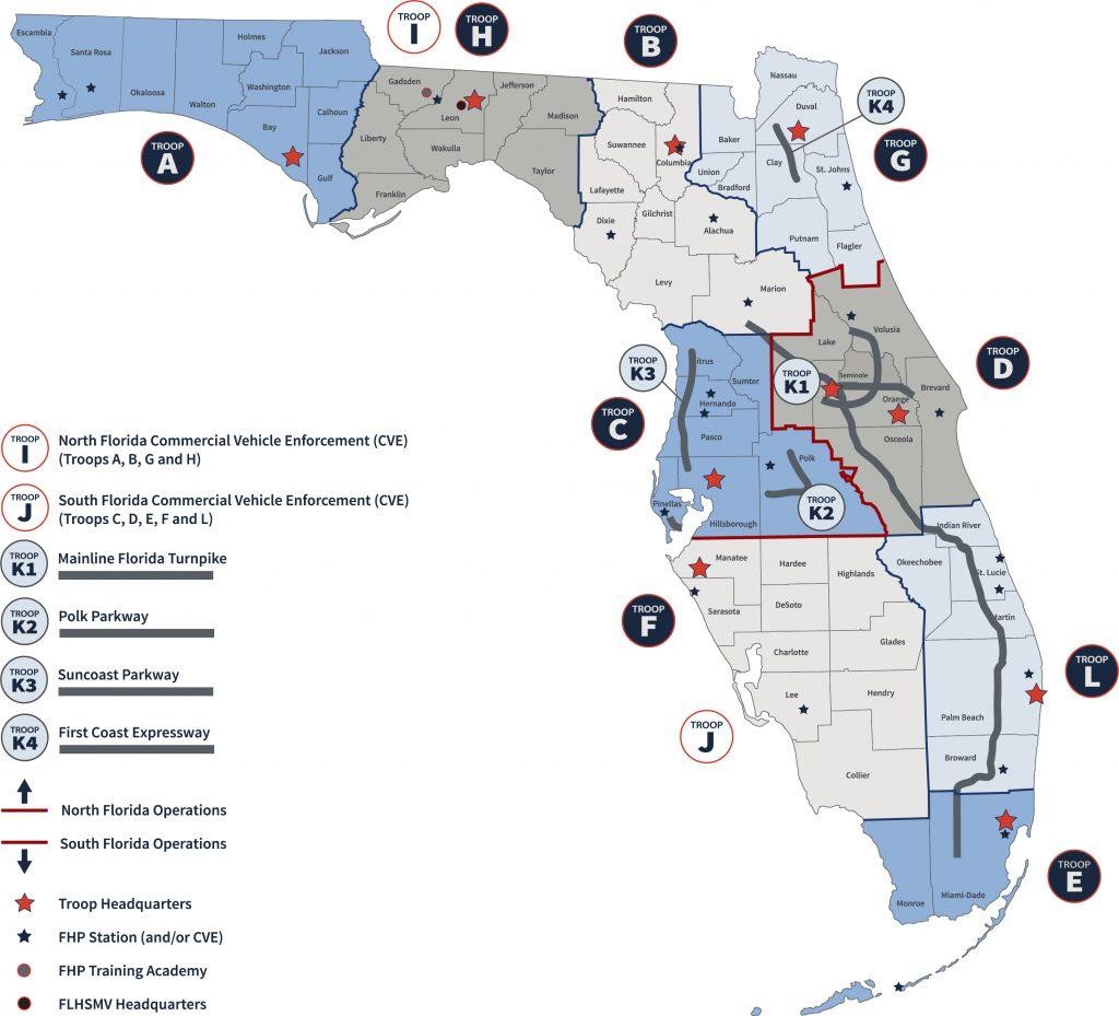 Florida Highway Patrol Troop Boundaries
