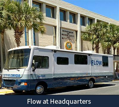 Flow bus in front of Kirkman building