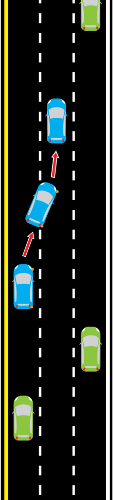 drive in the right lane and pass on the left